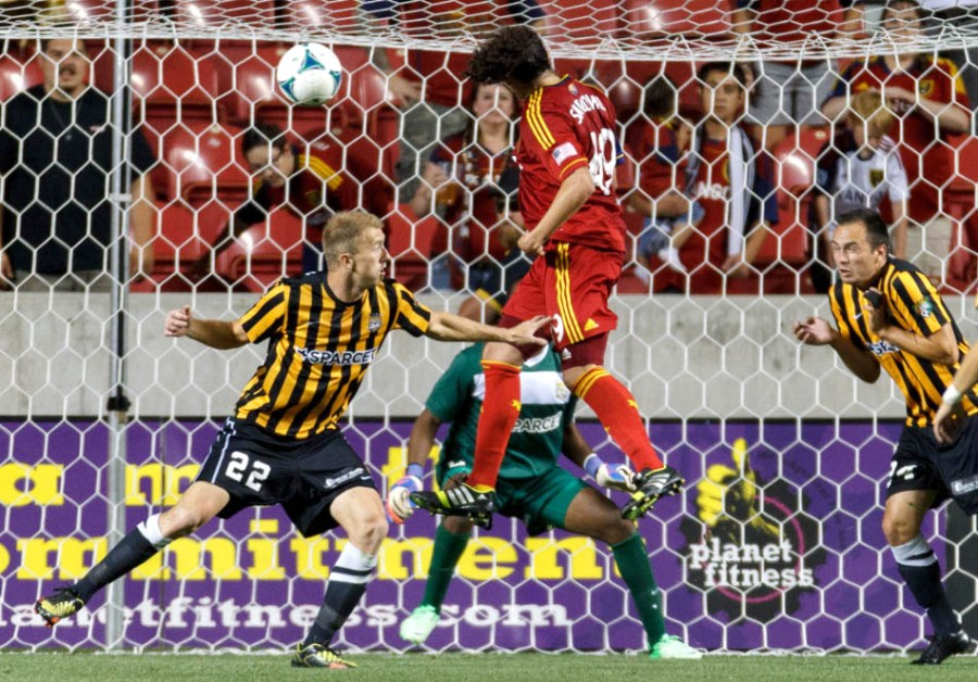 Real Salt Lake's Devon Sandoval heads in a goal in the first overtime period as Real Salt Lake hosts Charleston Battery in the US Open Cup Wednesday June 12, 2013 at Rio Tinto Stadium in Sandy, Utah