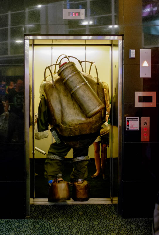Big Daddy Chris Berry tries to fit into an elevator at Salt Lake Comic Con