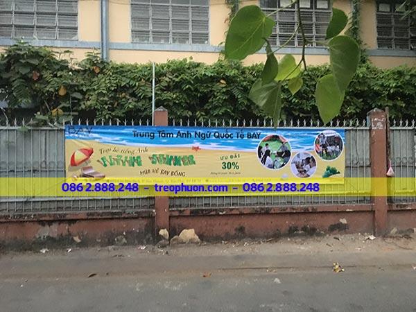 Treo băng rôn ngang trung tâm anh ngữ Tỉnh Bình Thuận