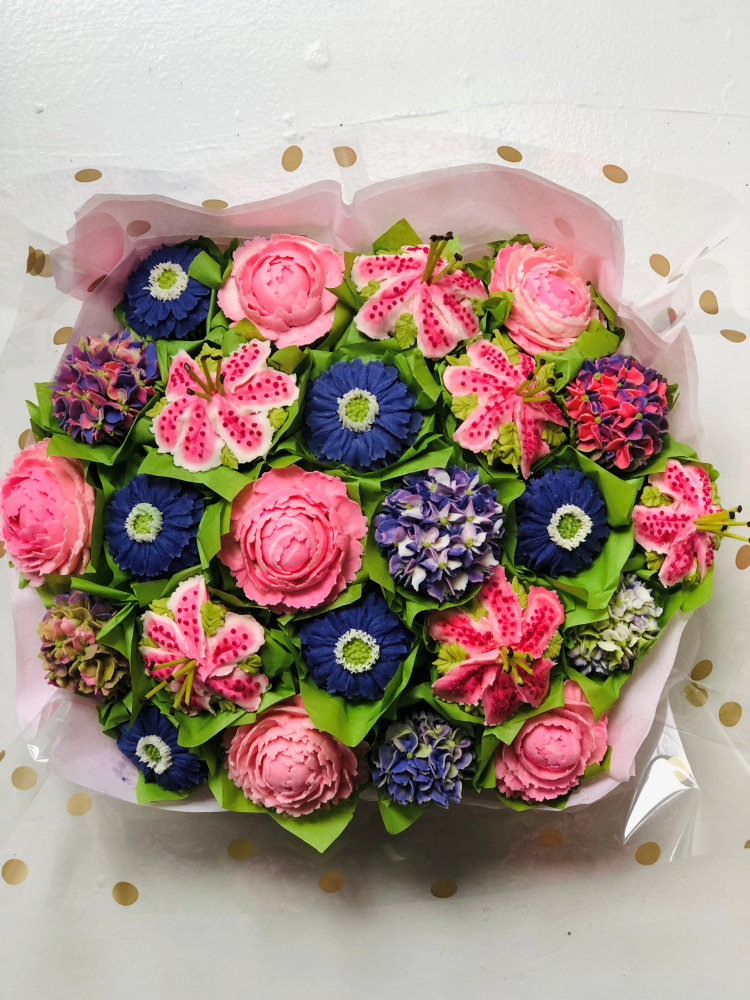 large floral cupcake bouquet in philadelphia