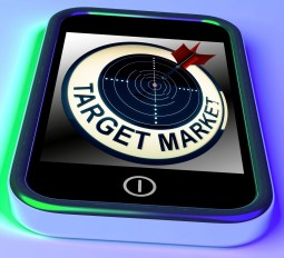 smart phone shows target market and says write for results