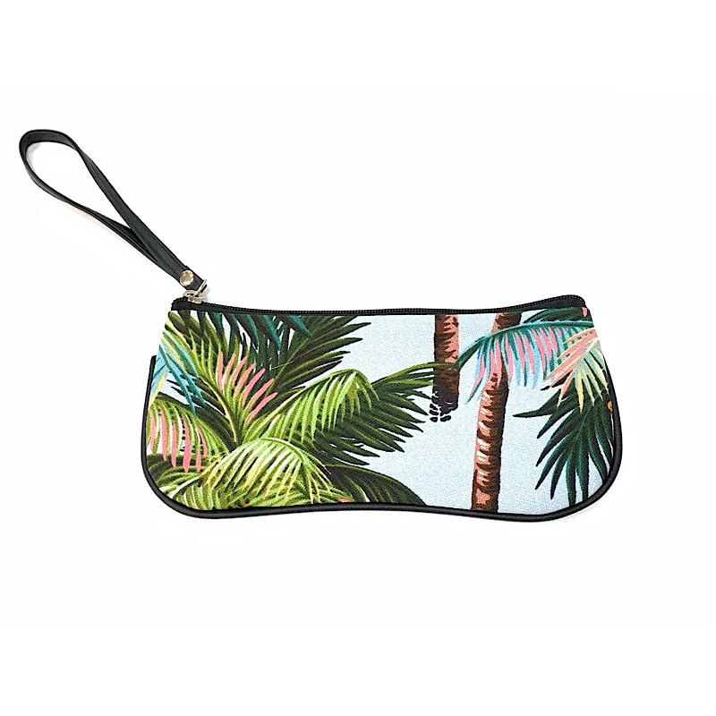 Palm print fabric clutch