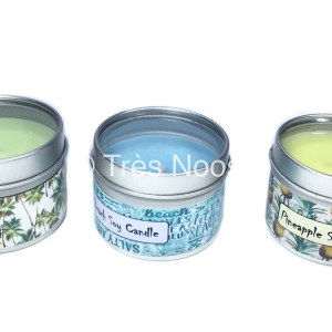 Soy tin containers in pineapple, palm tree and beach wrap, coloured and scented