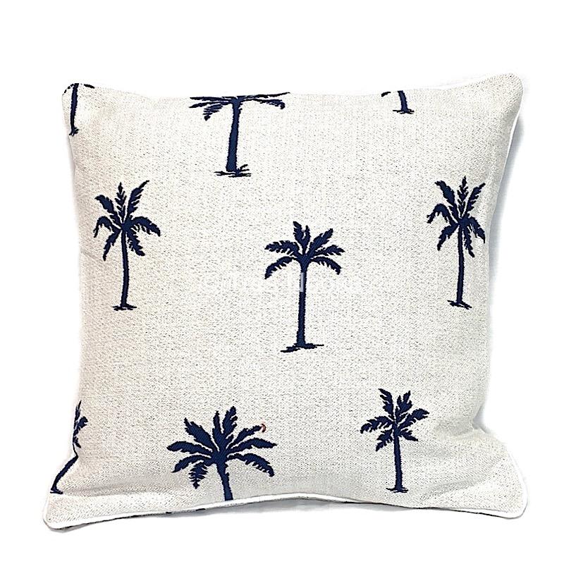 Artistry Classic Palm Jacquard Navy Fabric cushions