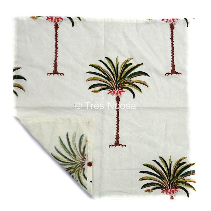 Cotton napkins palm tree green