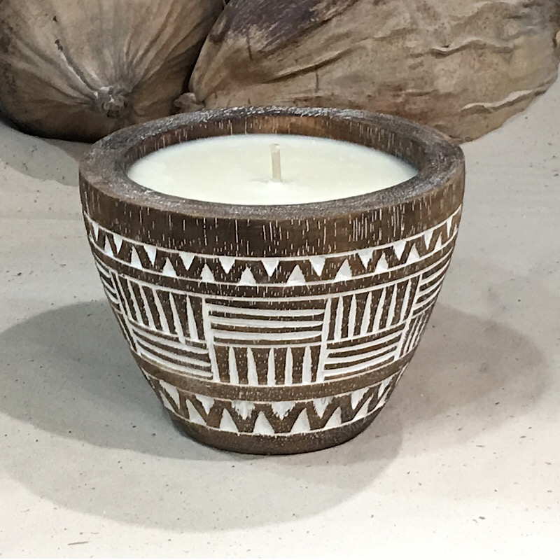 Soy scented candle in wooden vase