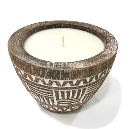 Soy scented candle in palm tree vase
