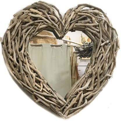 Large driftwood heart mirror