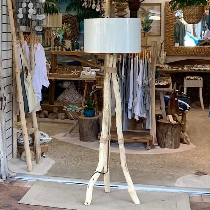 Driftwood tripod floor lamp