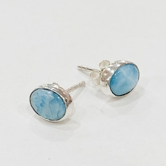 Larimar 925 sterling silver studs