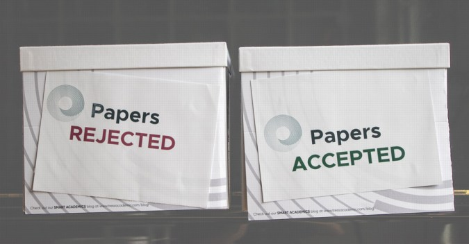 Two boxes with rejected and acceopted papers  : Peer-review