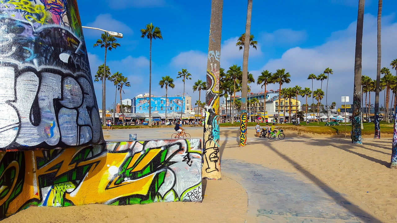 Venice Beach è l'incredibile e colorato quartiere della contea di Los Angeles, e oltre alla sua enorme spiaggia, accoglie sportivi, artisti di strada e personaggi famosi.