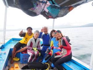 on boat at bali