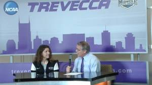 Trevecca Athletic Director, Mark Elliott (right) introducing new womens soccer head coach Kelsey Fenix (left)