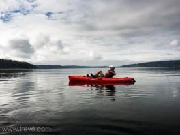 Arlen enjoying a pedal power kayak on Holmes Harbor