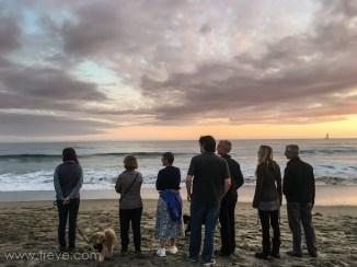 Family on the beach in Santa Cruz