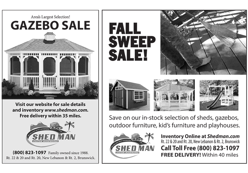 Print ads for Shed Man - designed by Trevellyan.biz, Columbia County, NY graphic designer