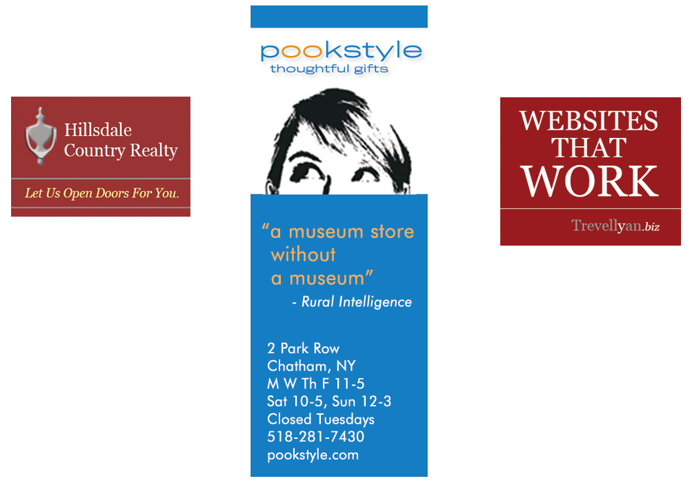Digital display ads, online advertising, for Hillsdale Country Realty, pookstyle thoughtful gifts, and Trevellyan.biz - designed by Trevellyan.biz, Columbia County, NY graphic designer