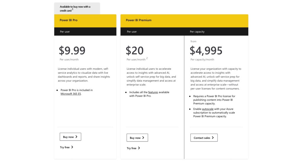 3 columns showing pricing options for PowerBI tool