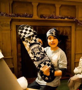 David with skateboard at xmas