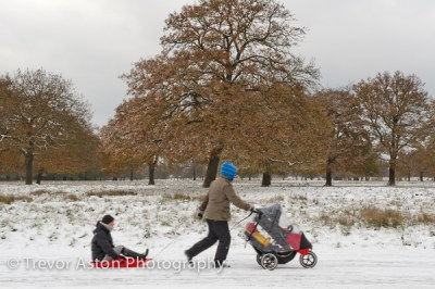 family in the snow Teddington southwest London