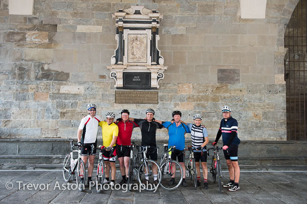 The others have cycled to the Città alta and by the time we reach them there's only time for a group photo and they want to be off.