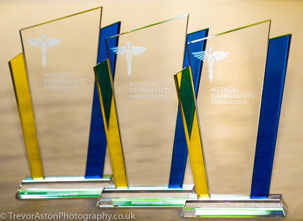 some of the trophies for the Medical Journalist awards event in Lonodn