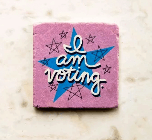 """I Am Voting"" Stone Coaster for Creative Action Network"