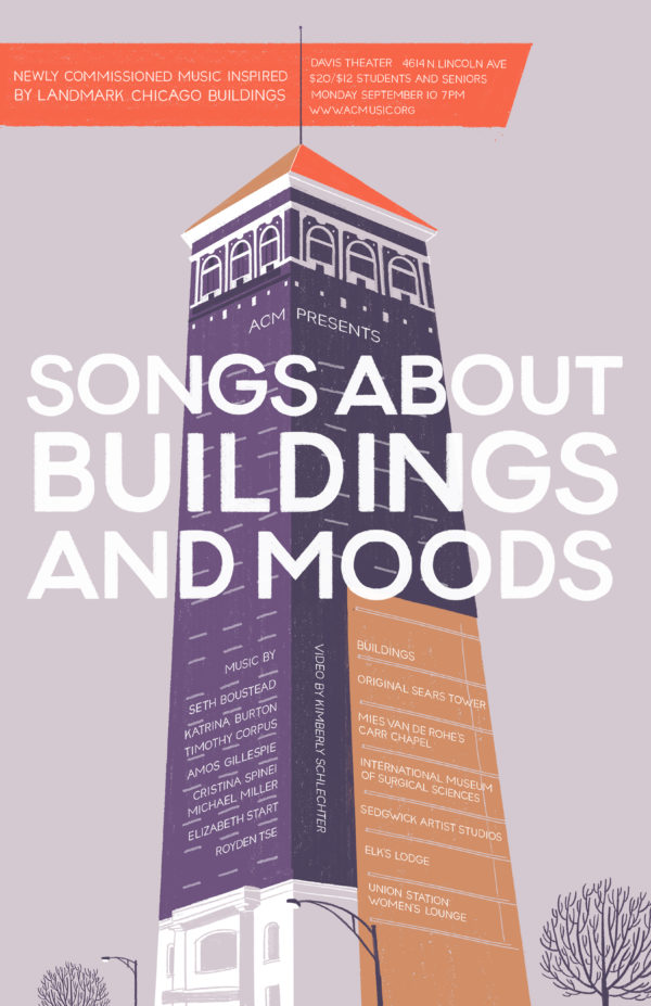 Poster - Songs About Buildings and Moods - Chicago, IL - Davis Theater