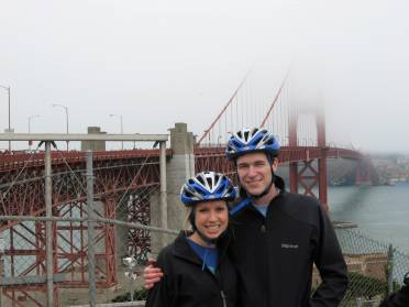 We rode bikes over the Golden Gate Bridge...in matching jackets