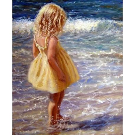 Девочка и волны, раскраска по номерам на холсте 40х50см ...