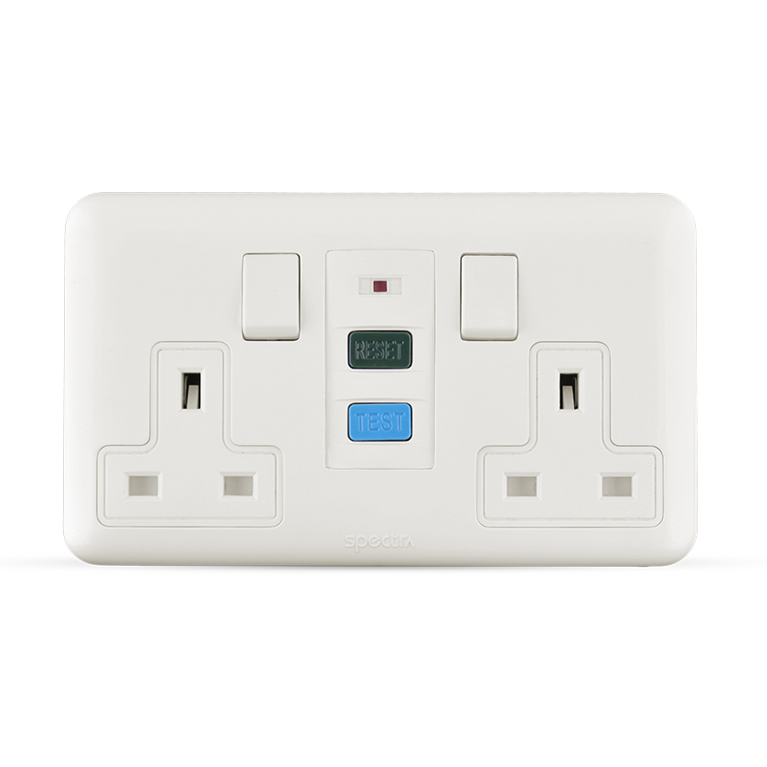 13A socket 2 gang with RCD white color spectra