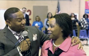 Alicia Clark of Crump Elementary School is one of three SCS Teachers of the Year, a honor she learned of Wednesday from Interim Supt. Joris Ray. (Photo: @SCSK12Unified)