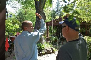Assistant City Manager David Parrish observes the largest backyard tree with ropes still hanging from its limbs.