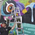 Impromptu mural takes over wall… for now