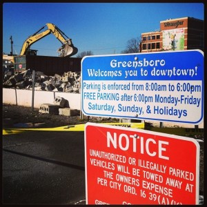 The Greensboro Inn came down to make way for the performing-arts center.