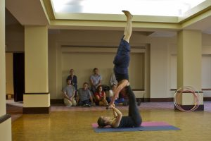 A gymnastic-style dance performance