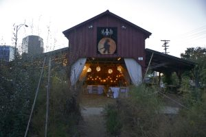 A barn set up for diners in the Edible Schoolyard.