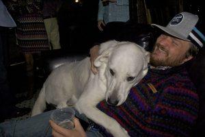 Khaleesi the dog latched onto my friend Sam.