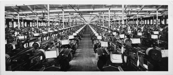 The White Oak weaving room in 1941 had hundreds of looms producing miles of selvedge denim.
