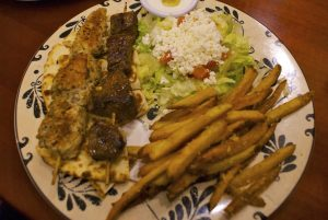 The mixed platter. Top: The shawarma plate.