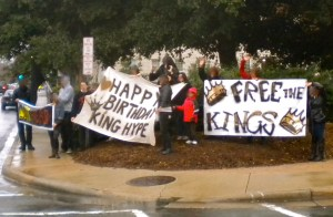 A rally for Hype's birthday outside the jail  in downtown Winston-Salem. He flashed his cell light and waved to signal back.