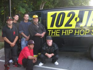 L-R: Hype, Peaceful, Speechless, Jay.  Front: Spanky and Bam. After Jay spoke on 102 JAMZ.