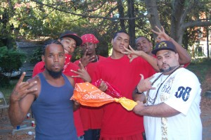 Jay at a unity event with Bloods and Crips.  Photo by Ed Whitfield.