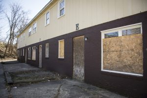 Boarded up and condemned units at 2333 Floyd St.