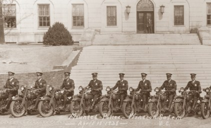 Members of the Winston-Salem police motorcycle squad in 1928.