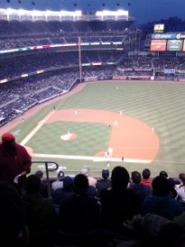 The view from Section 415, Row 7, Seat 21 — better than it looks. (photo by Anthony Harrison)