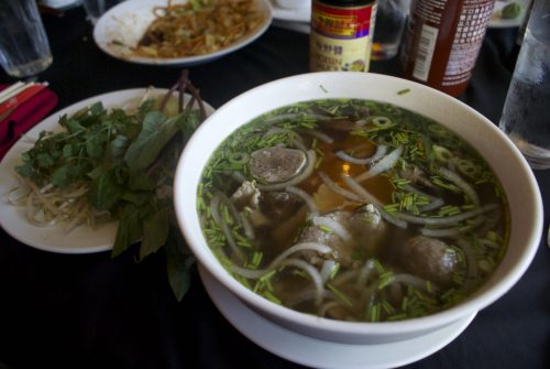 The meatball and beef pho. Above: Thai peanut noodles