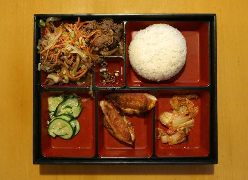 The lunch box lunch special with bulgogi (top left)
