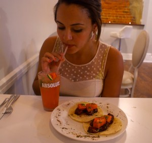 Kacie with the pork-belly tacos and watermelon mojito